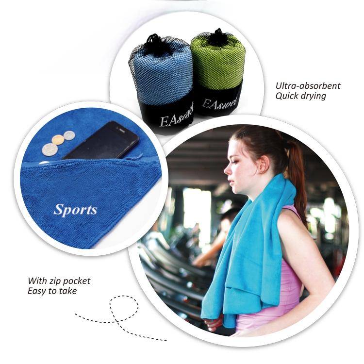Microfiber Gym Towel With Zip: Microfiber Gym Towel With Pocket